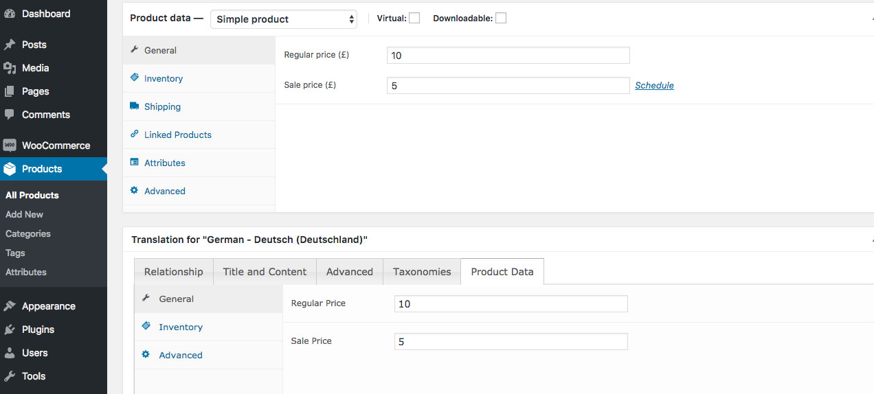 WooCommerce MultilingualPress Product Data - Simple Product, Price Settings