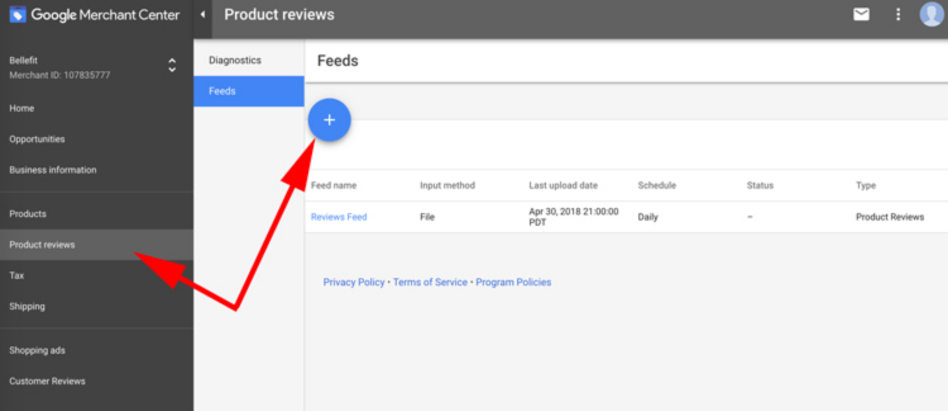 go to Product Reviews in your Merchant Center side menu and select 'Add Feed'