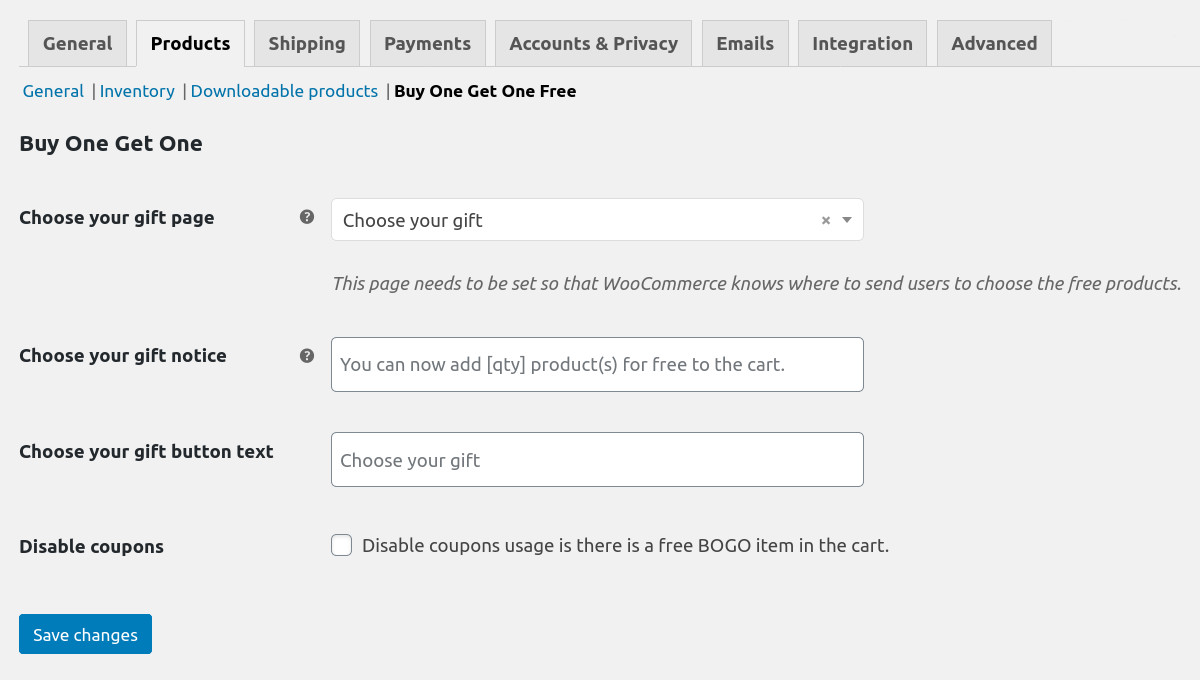 Settings of Buy One Get One Free for Woocommerce