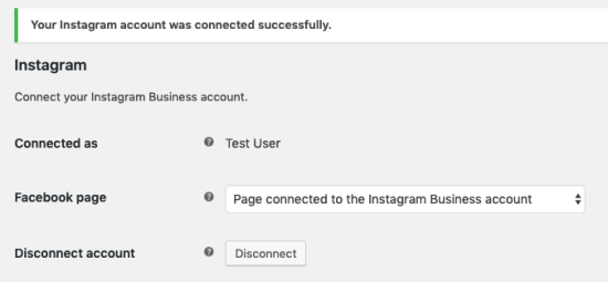Instagram account connected with the store successfully
