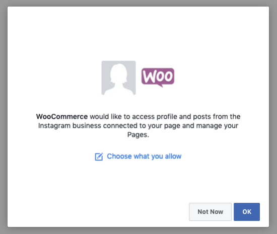 Facebook dialog with the WooCommerce app permissions