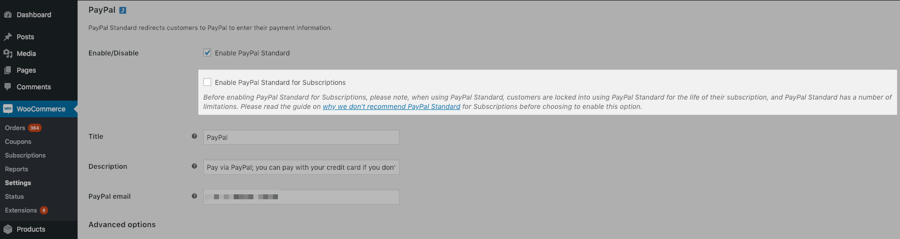 PayPal Standard for Subscriptions Setting - Disabled