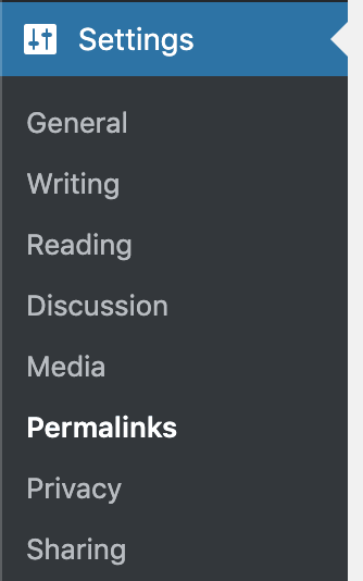 Permalink Settings Menu Location