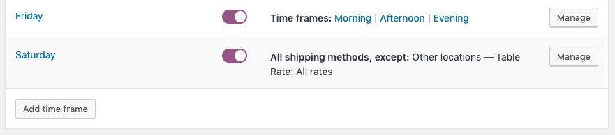 Add a time frame from the delivery days setting