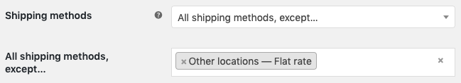 Enable all shipping methods, except the specified set