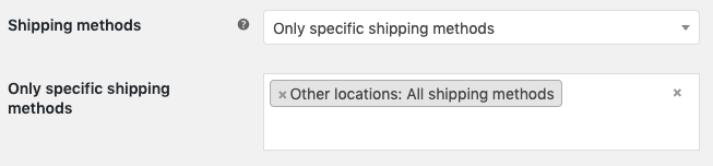 Select the available shipping methods