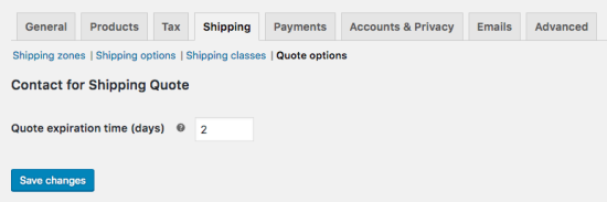 Contact for Shipping Quote plugin settings