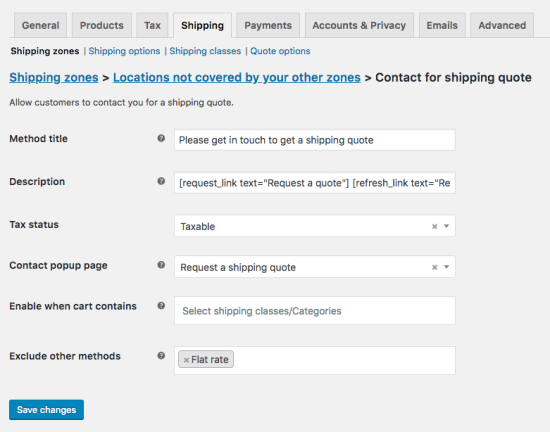 Contact for Shipping Quote shipping - instance settings