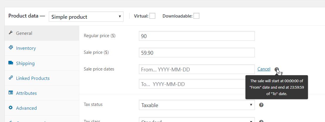 WooCommerce sale schedule