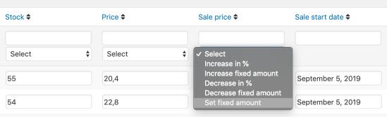 Bulk Table Editor set fixed amount