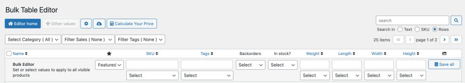 Bulk Table Editor other header