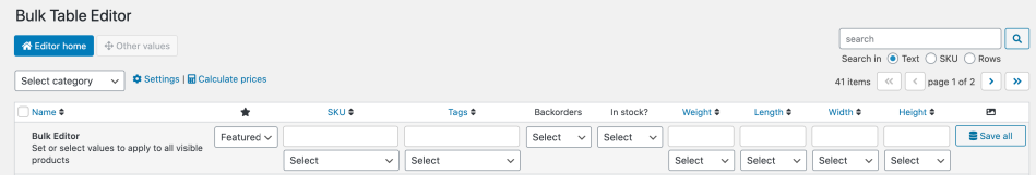 Bulk Table Editor header other