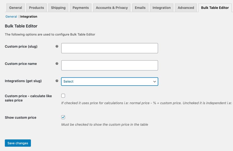 Bulk Table Editor settings