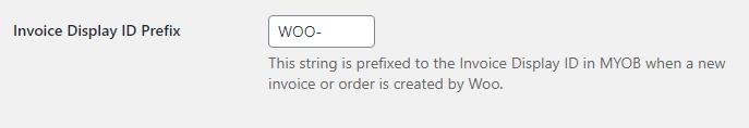 invoice display id prefix for MYOB invoices