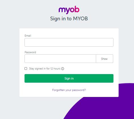 MYOB sign in