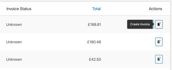 invoice order action buttons on orders screen