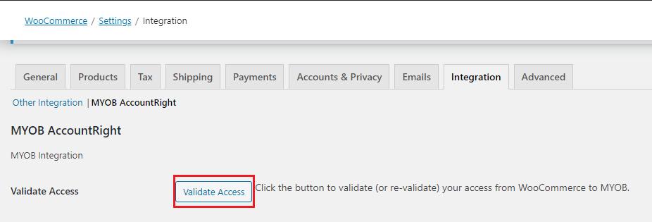 Validate Access to MYOB