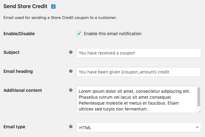 Send Store Credit email settings
