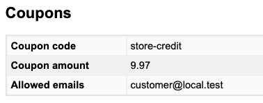 Personal data within a Store Credit coupon
