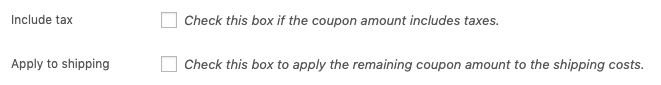 Additional options for a Store Credit coupon