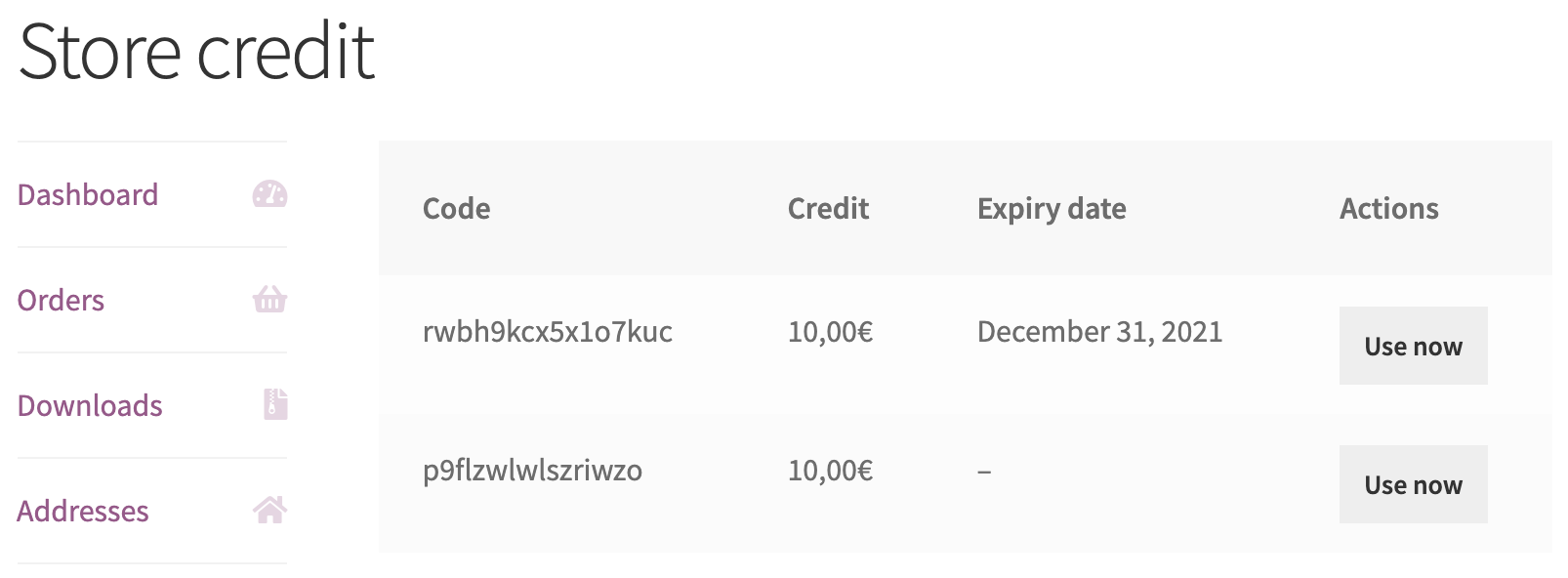 List with the available Store Credit coupons