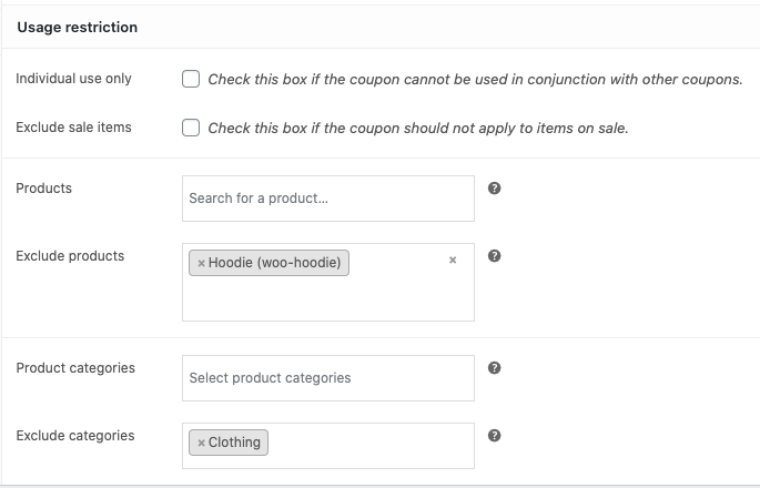 Store Credit product usage restrictions