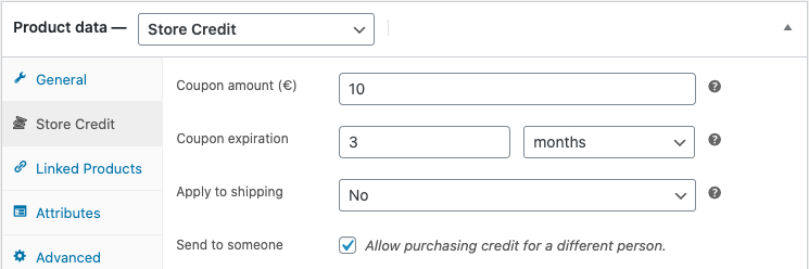Store Credit product options
