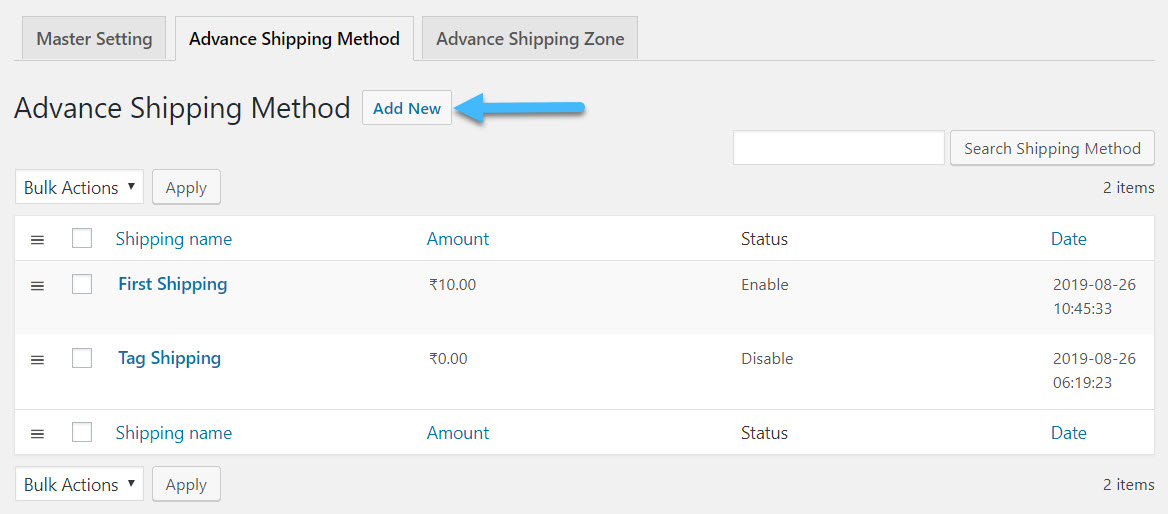 Create Shipping Method by Clicking on Add New Shipping Method for Advanced flat rate shipping plugins