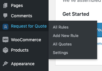 WooCommerce Request a Quote Plugin Menu