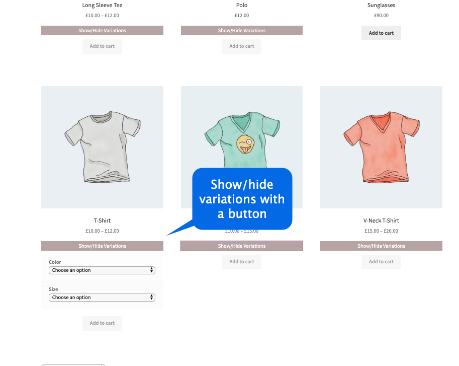 woocommerce display variations on shop page