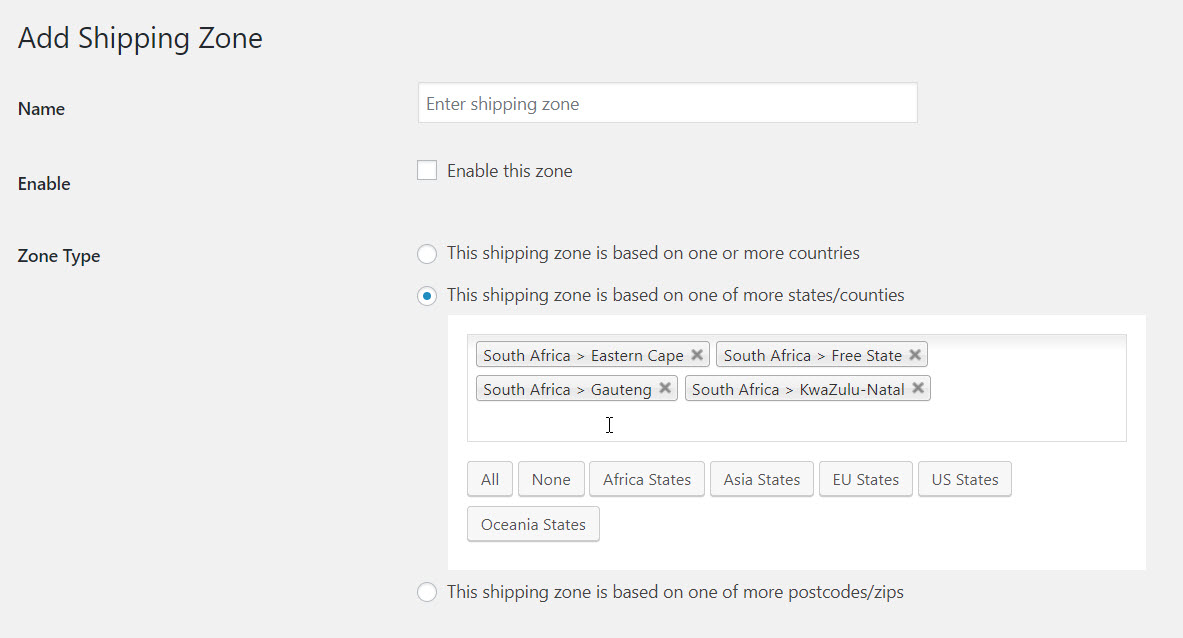 Add shipping zone by state in Advance flat rate shipping plugins