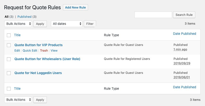 Request a Quote Rules Grid