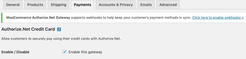 WooCommerce Authorize.Net enable webhooks