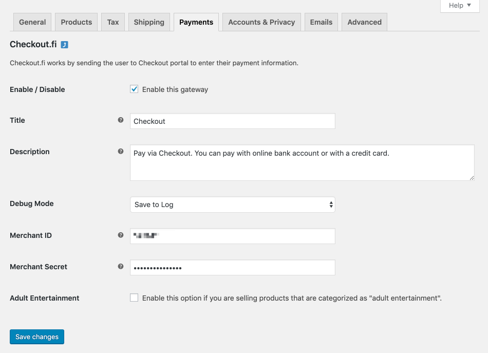 WooCommerce Checkout (Finland) Settings