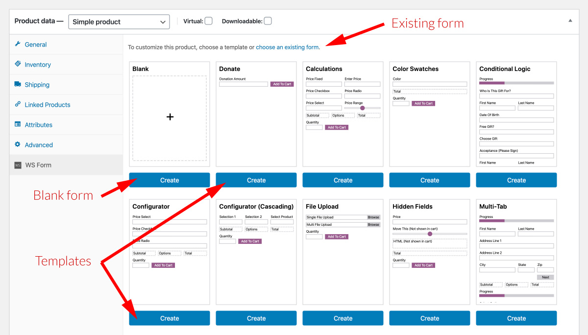 WS Form PRO WooCommerce Product Add Ons - Add Form