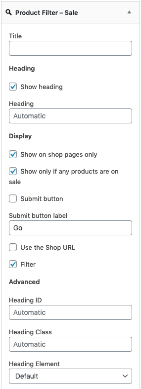 Showing the Product Filter – Sale - Widget Settings
