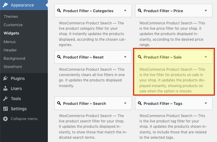 The Product Filter – Sale entry under Appearance > Widgets.