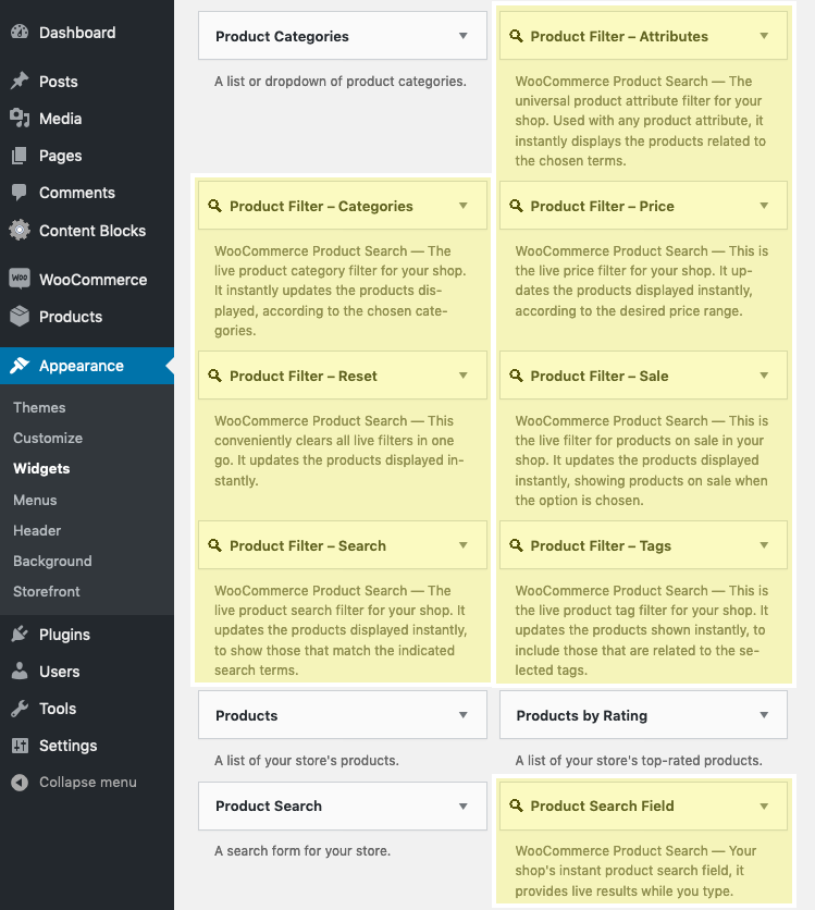 Widgets - Live Product Search and Filter Widgets