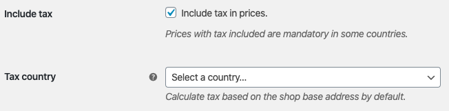 Tax location for the prices of the product catalog
