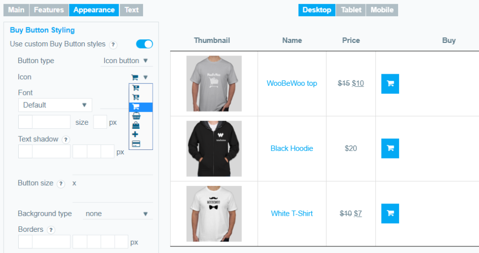 icon style for buy button of product table