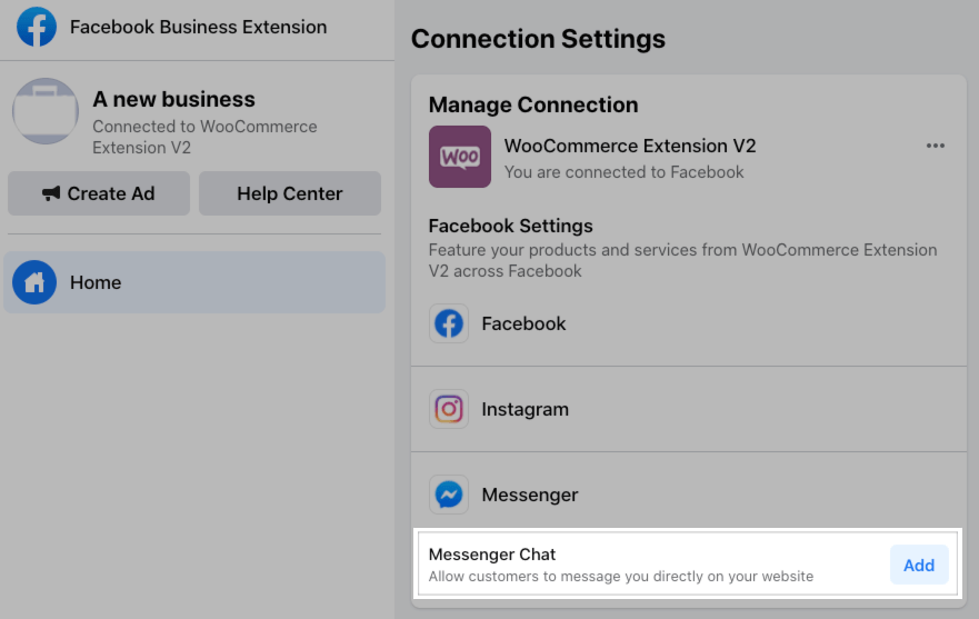 Adding Facebook Messenger through the Manage Connection page.