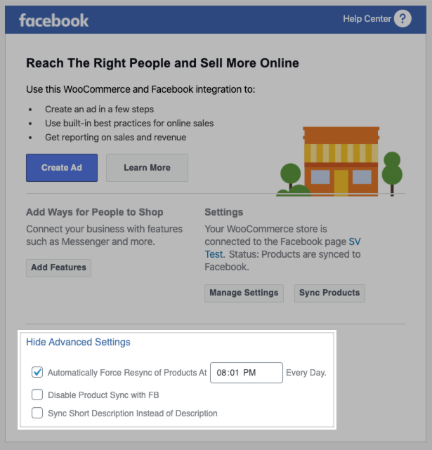Facebook for WooCommerce advanced product settings