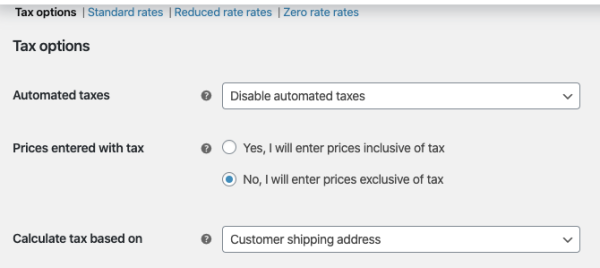 WooCommerce tax options choices