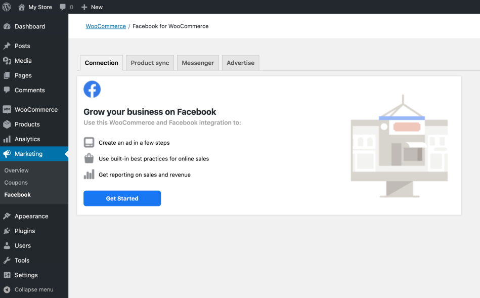 The Marketing > Facebook page before onboarding.