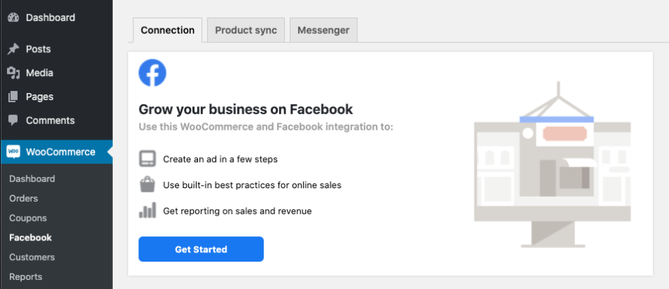 The WooCommerce > Facebook page before onboarding.
