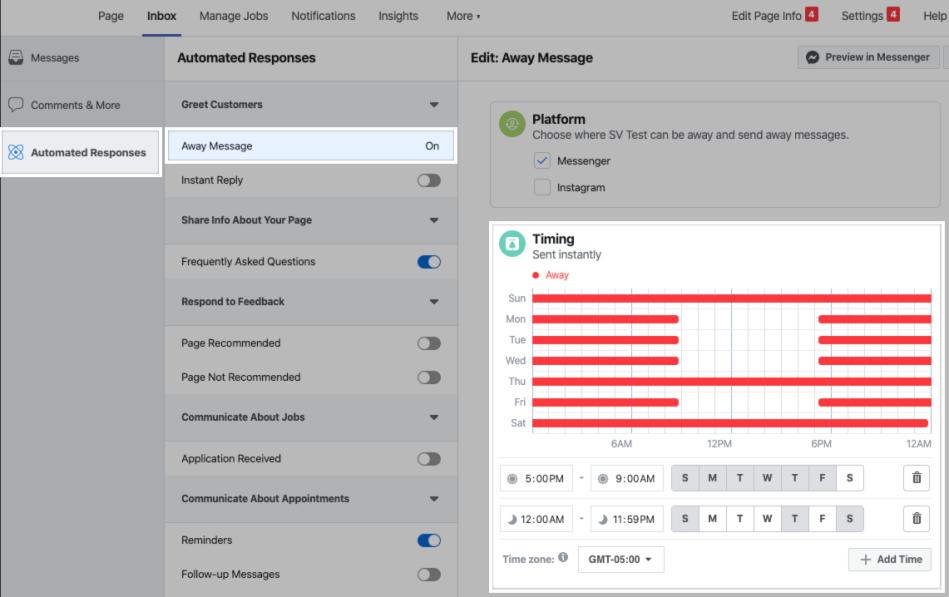 Configuring away hours for the Messenger platform