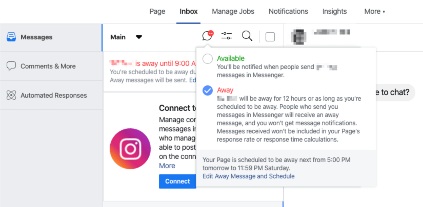 Toggling the Messenger platform to away from the Main toolbar