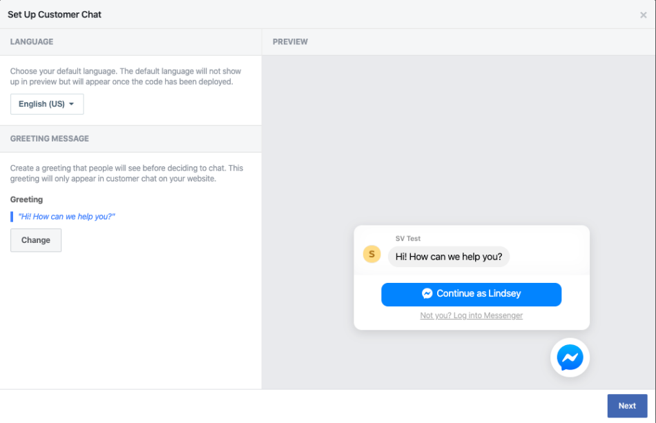 Facebook for WooCommerce Messenger settings