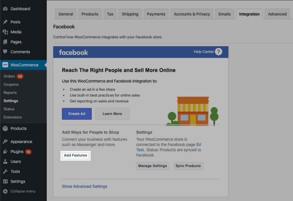 Facebook for WooCommerce Add Features button