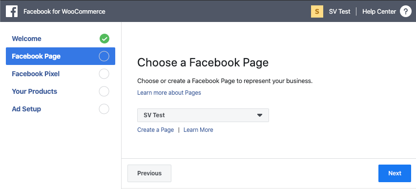 Selecting a Facebook Page during Facebook for WooCommerce setup
